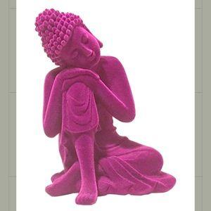 Deep purple Buddha leaning on knee figurine